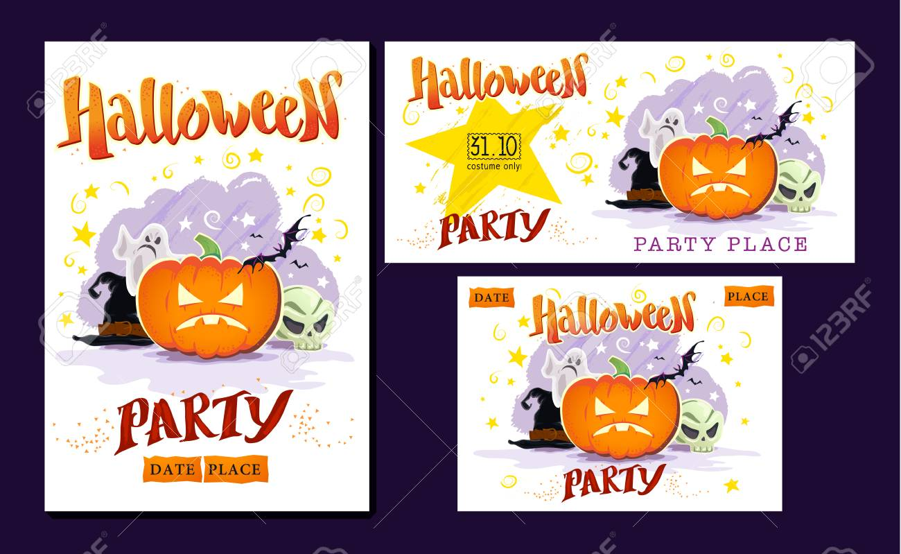 collection of vector halloween cards. halloween night party poster