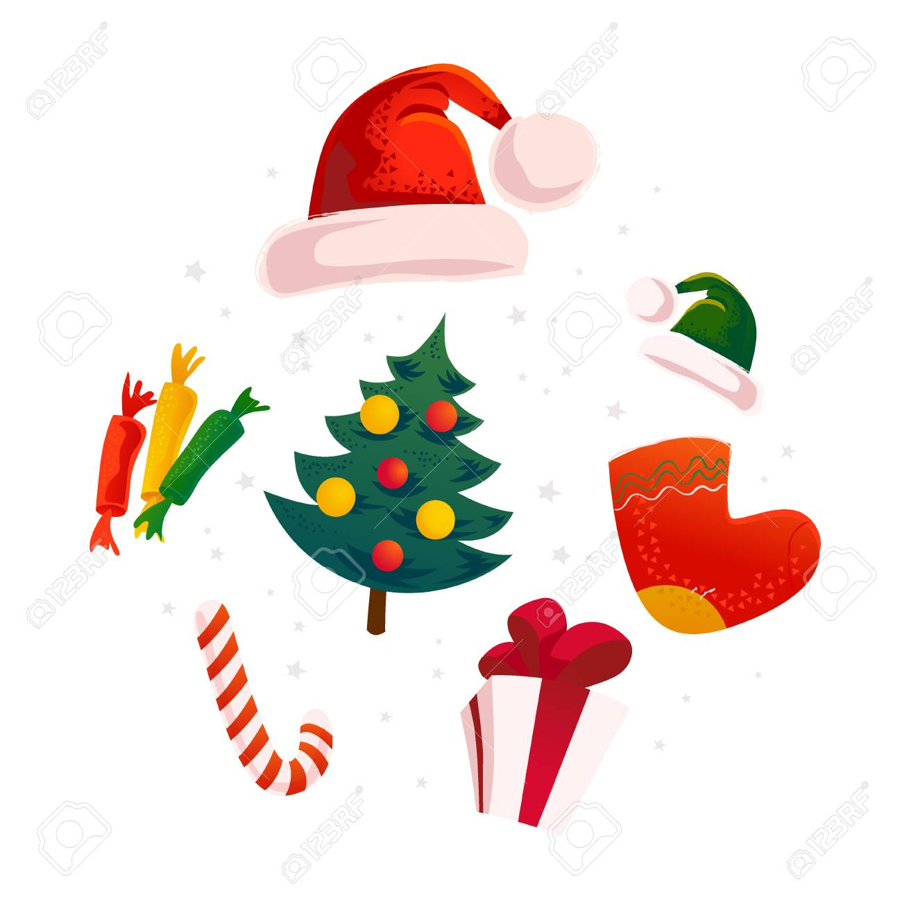 vector flat christmas design elements set santa elf hat gift