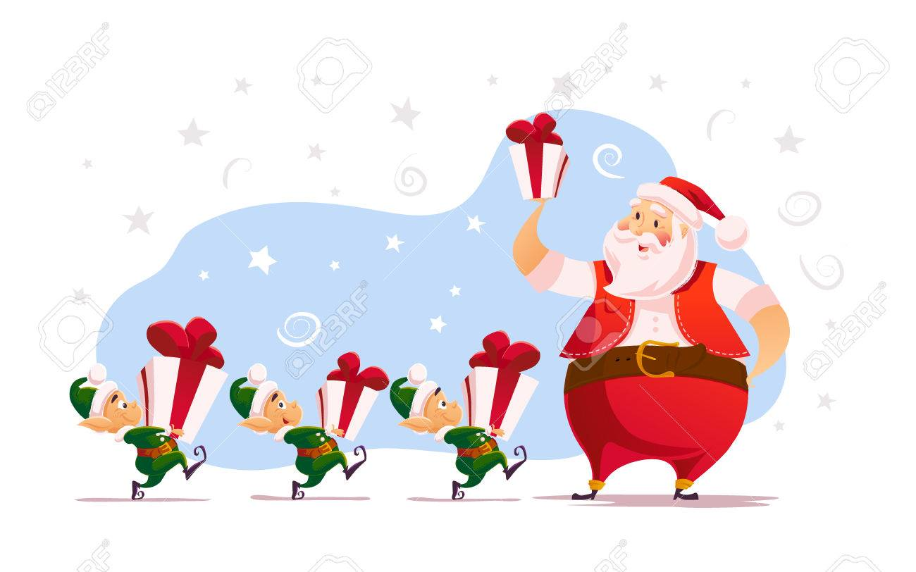 Vector Flat Merry Christmas And Happy New Year Illustration With ...