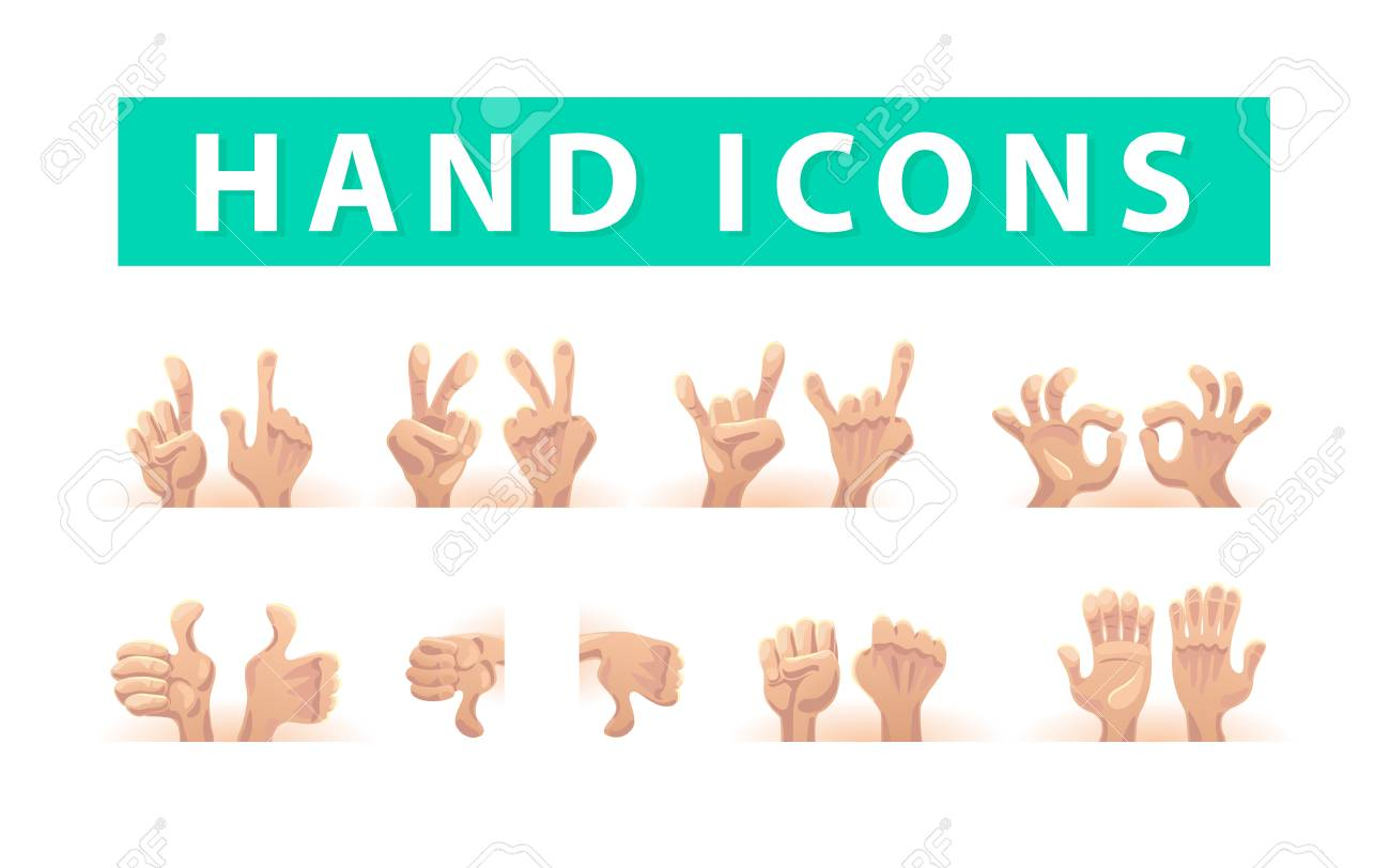Vector Collection Of Flat Hand Symbols Isolated On White Background