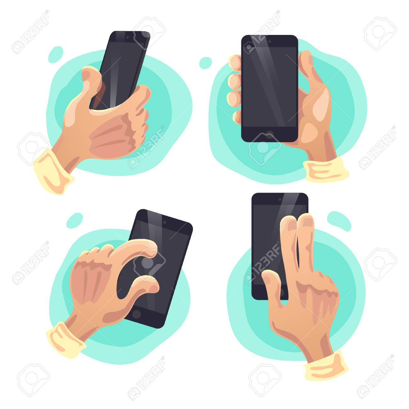 Vector Collection Of Flat Hand Symbols Holding Smartphone Isolated