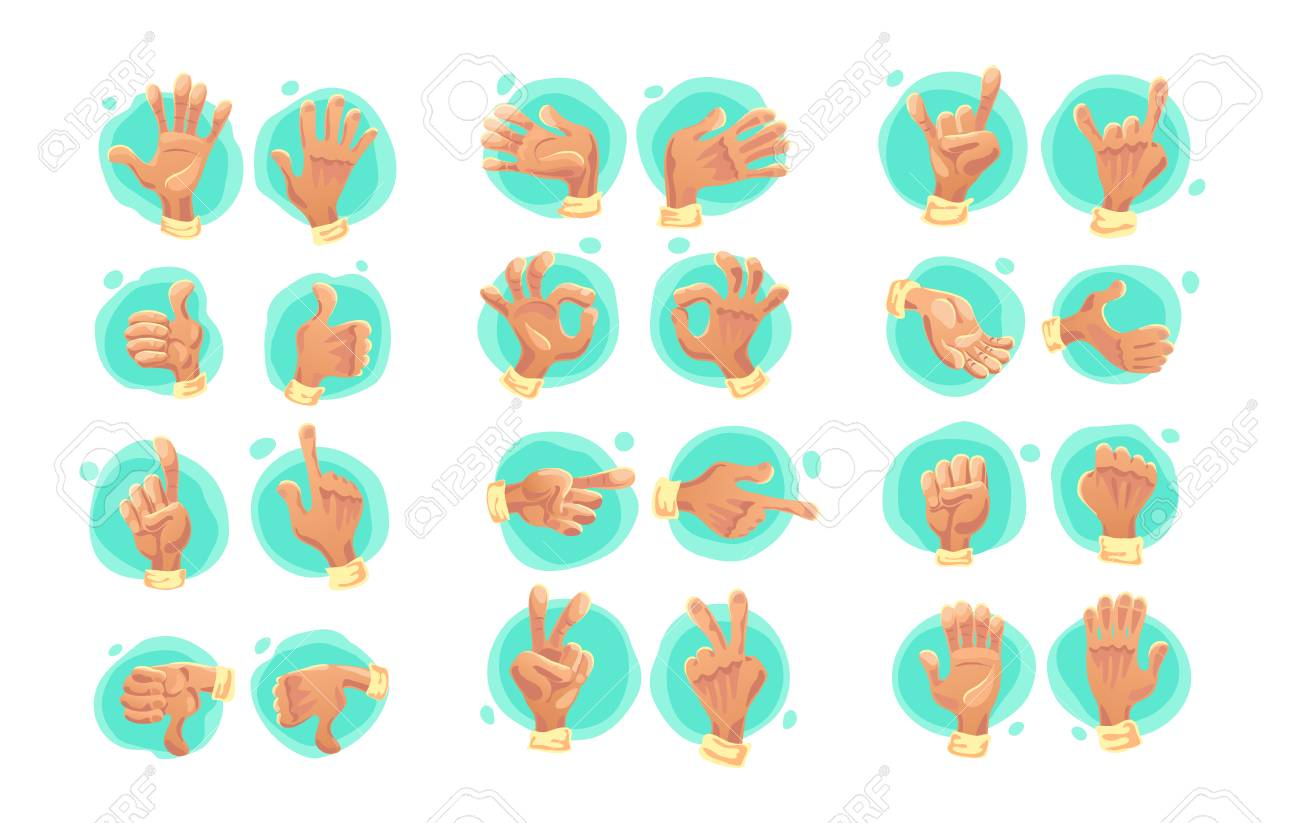 Vector collection of flat hand symbols isolated on white vector collection of flat hand symbols isolated on white background cartoon style emoji icons biocorpaavc