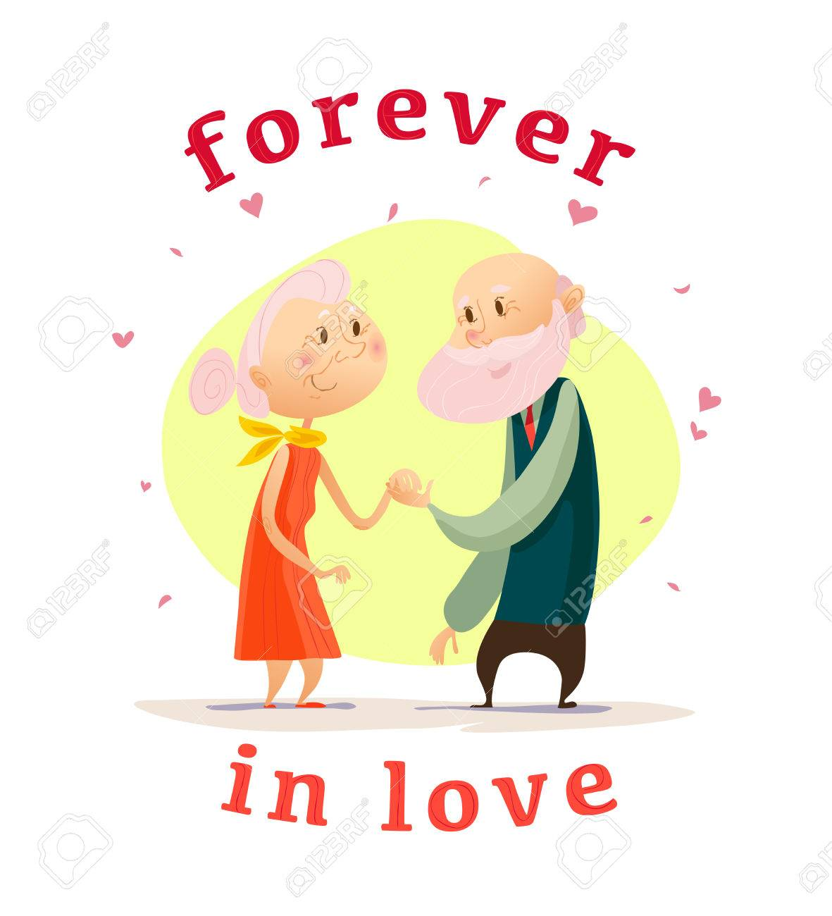 Vector Old Cute Loving Couple Flat Portrait Isolated On White