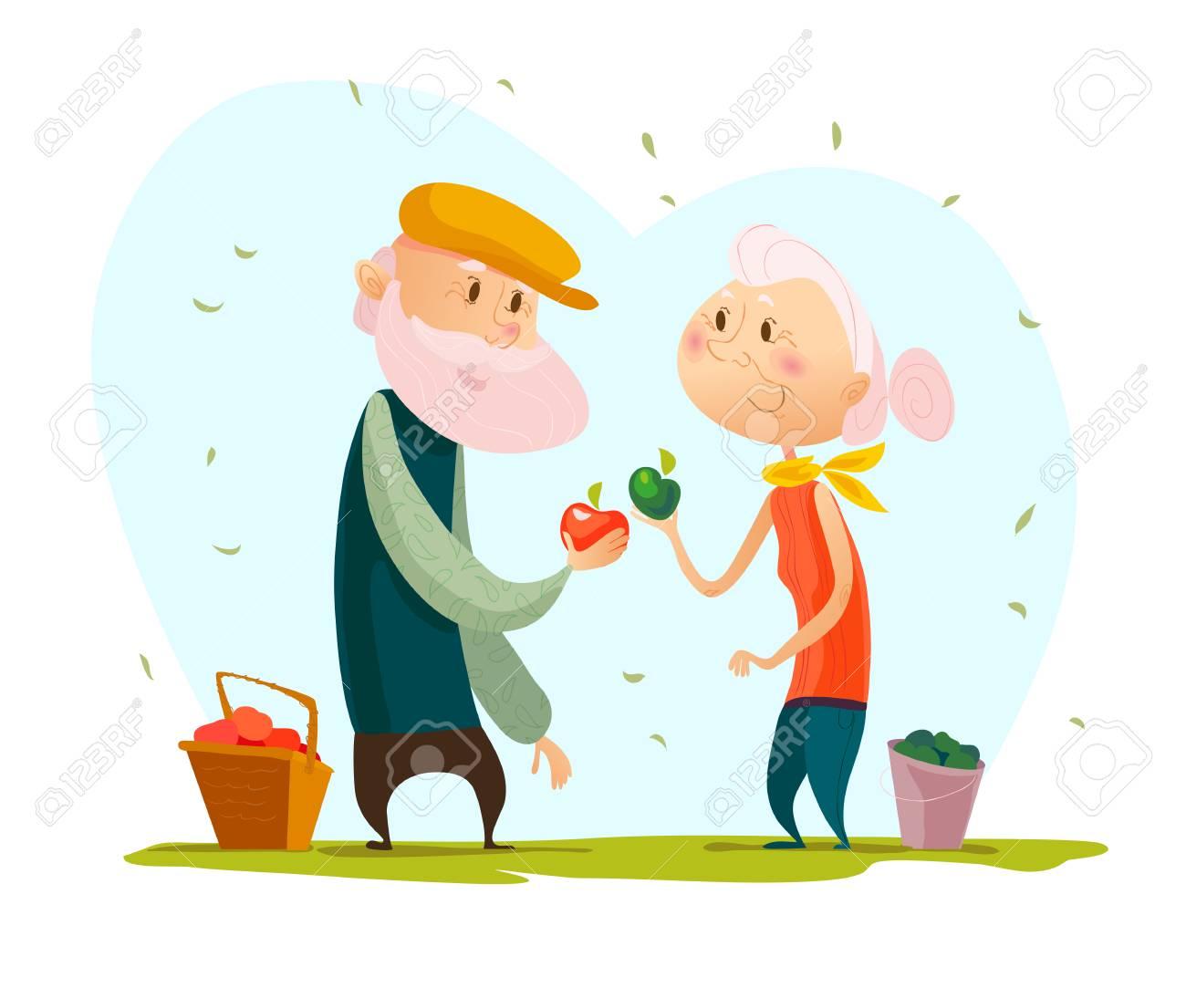 Dessin Amoureux Mignon vector flat portrait de vieux couple d'amoureux mignon isolé sur