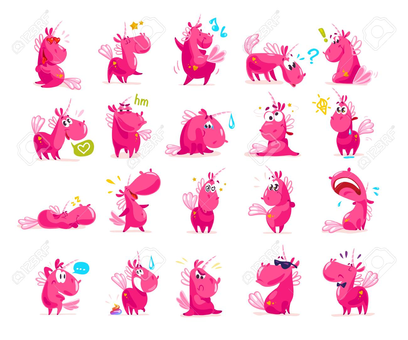 Vector collection of flat funny unicorns isolated on white background. Cartoon style. - 77372971