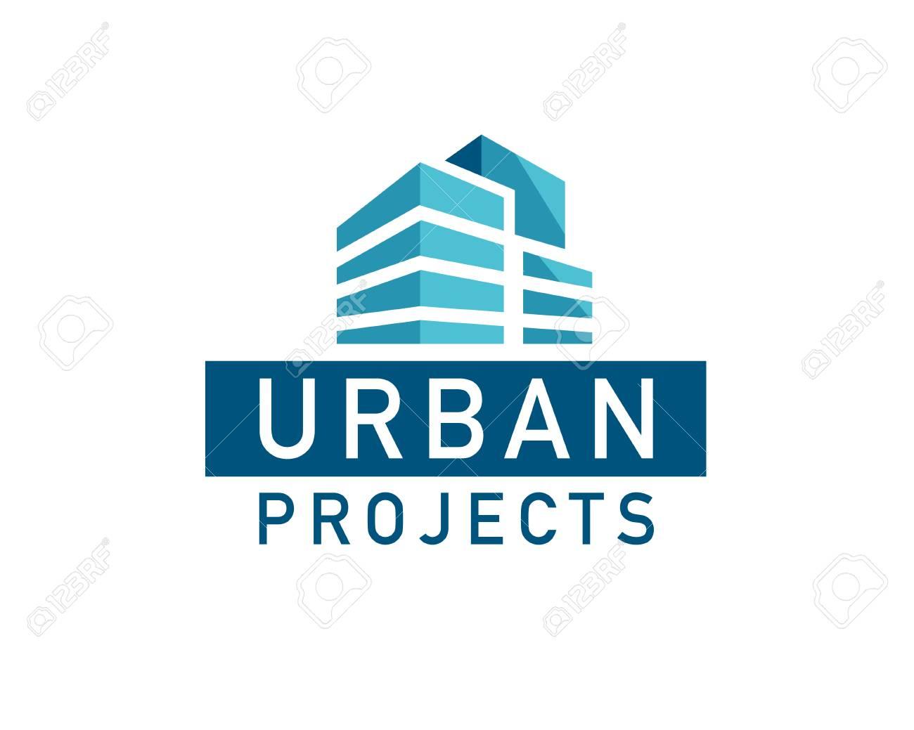 vector flat urban construction company logo design template