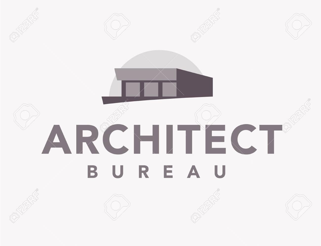 Vector flat architect bureau logo design isolated on white background modern house simple icon illustration