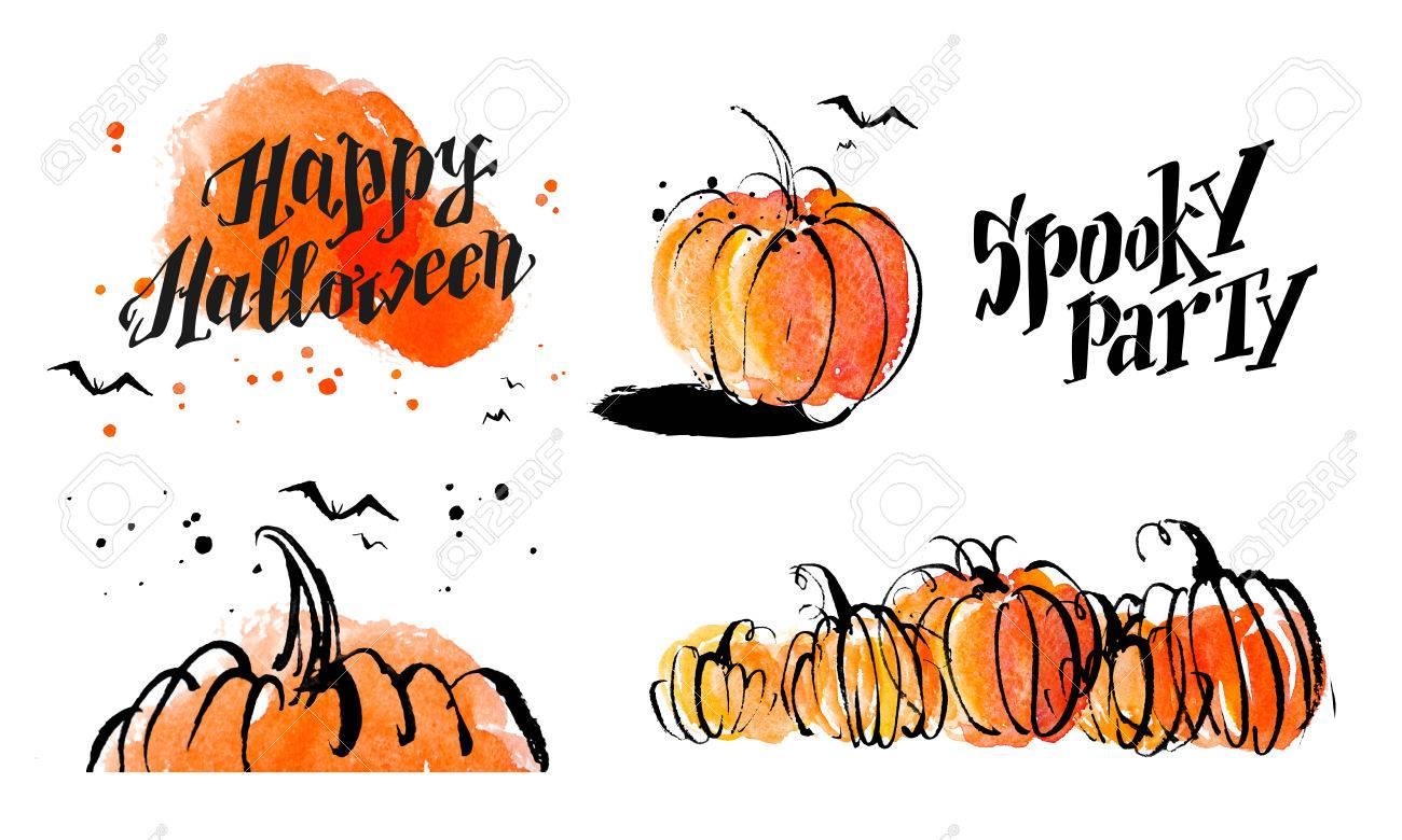 Halloween Watercolor Hand Drawn Artistic Pumpkin And Horror