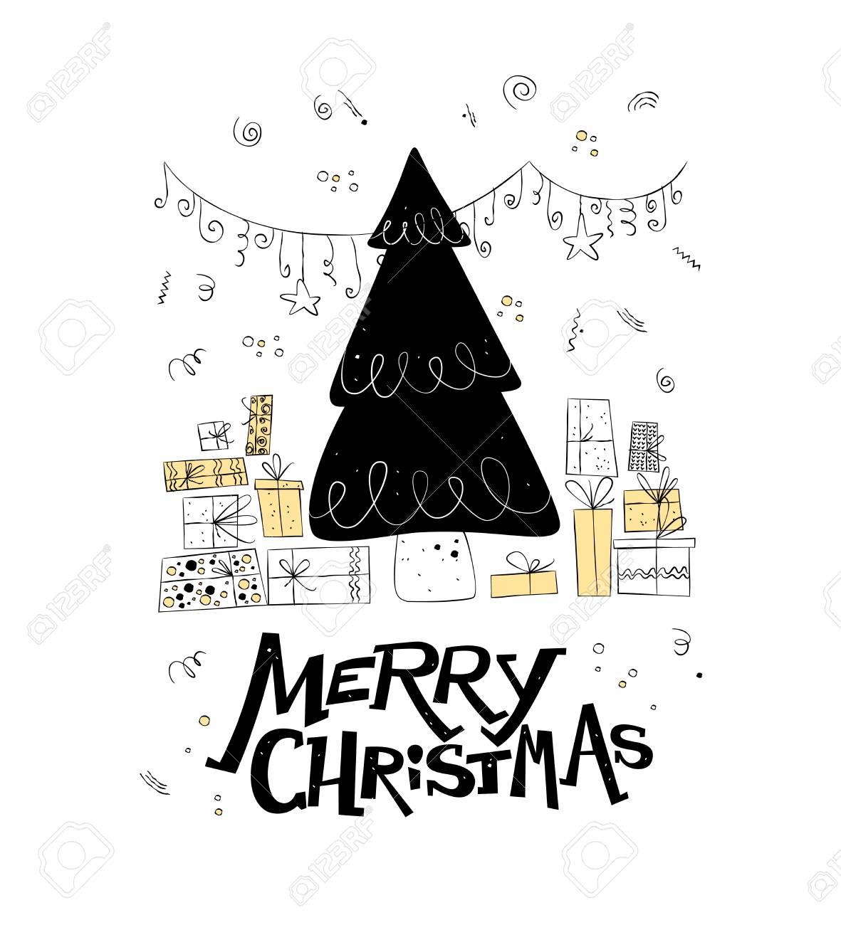 ベクトルのクリスマスと新年のお祝いデザイン北欧風イラスト飾られた