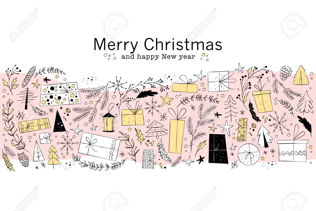 ベクトルのクリスマスと新年のお祝いデザイン北欧風イラスト簡単な