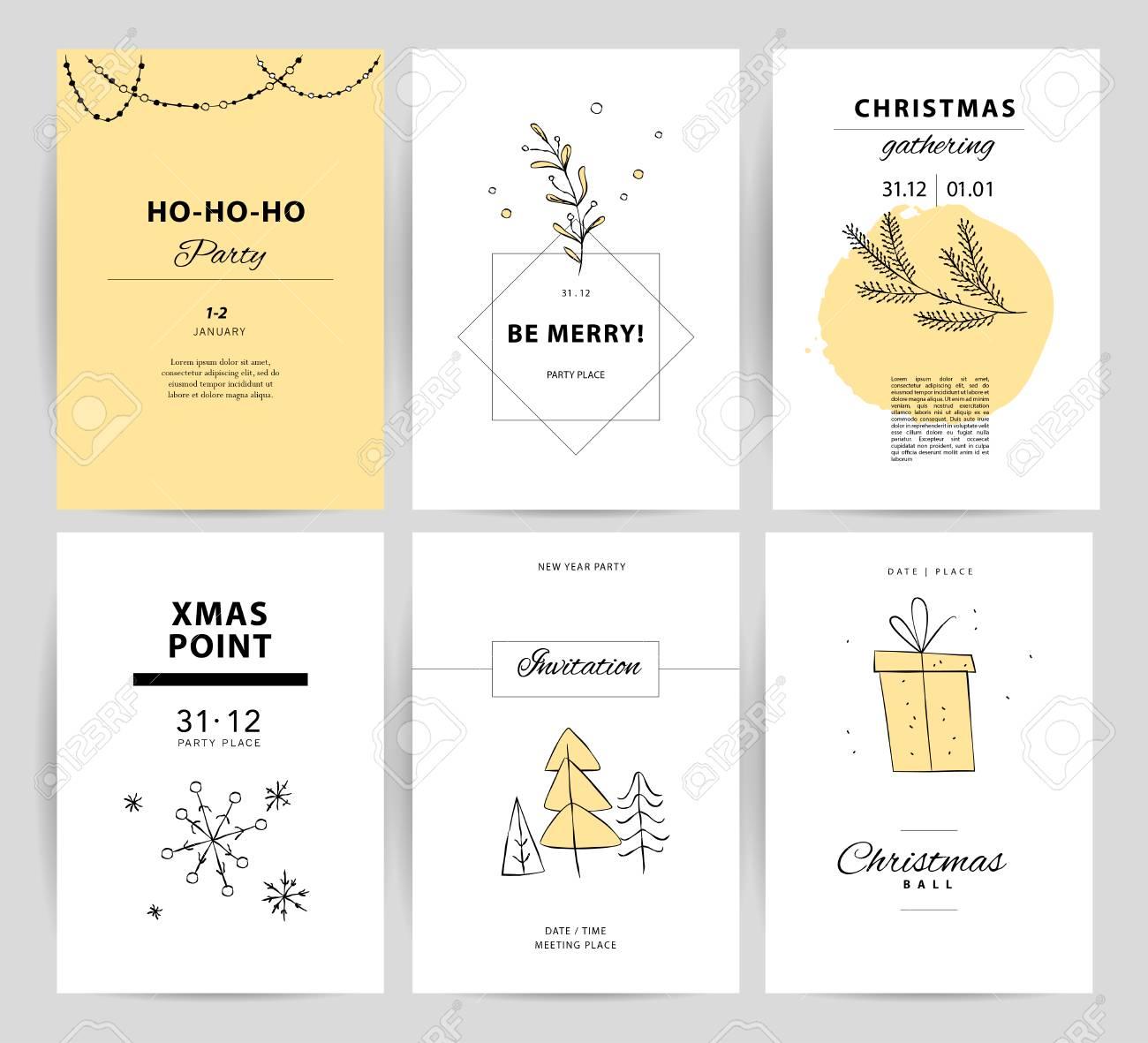 ベクトル クリスマス新年のお祝いのカード デザインのセットです北欧