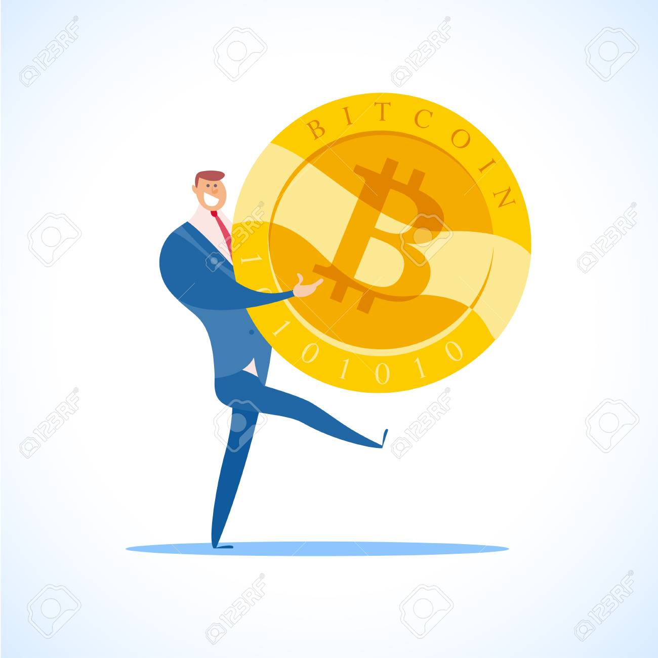 Vector bitcoin and successful businessman flat illustration isolated on white background. Cryptocurrency golden symbol. Digital money emblem, golden coin with bitcoin symbol design. - 89540281