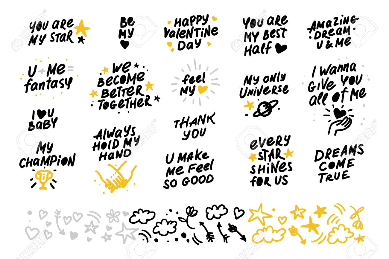 Collection Of Vector Hand Made Lettering Love Quotes And Decor