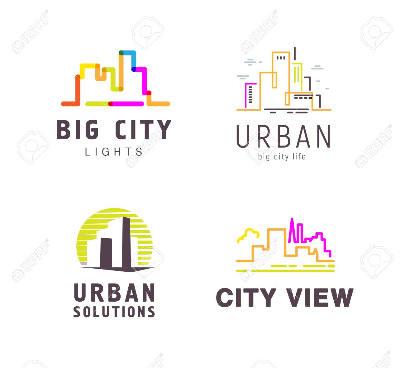 Vector Colorful Flat Construction Company Brand Design Templates ...