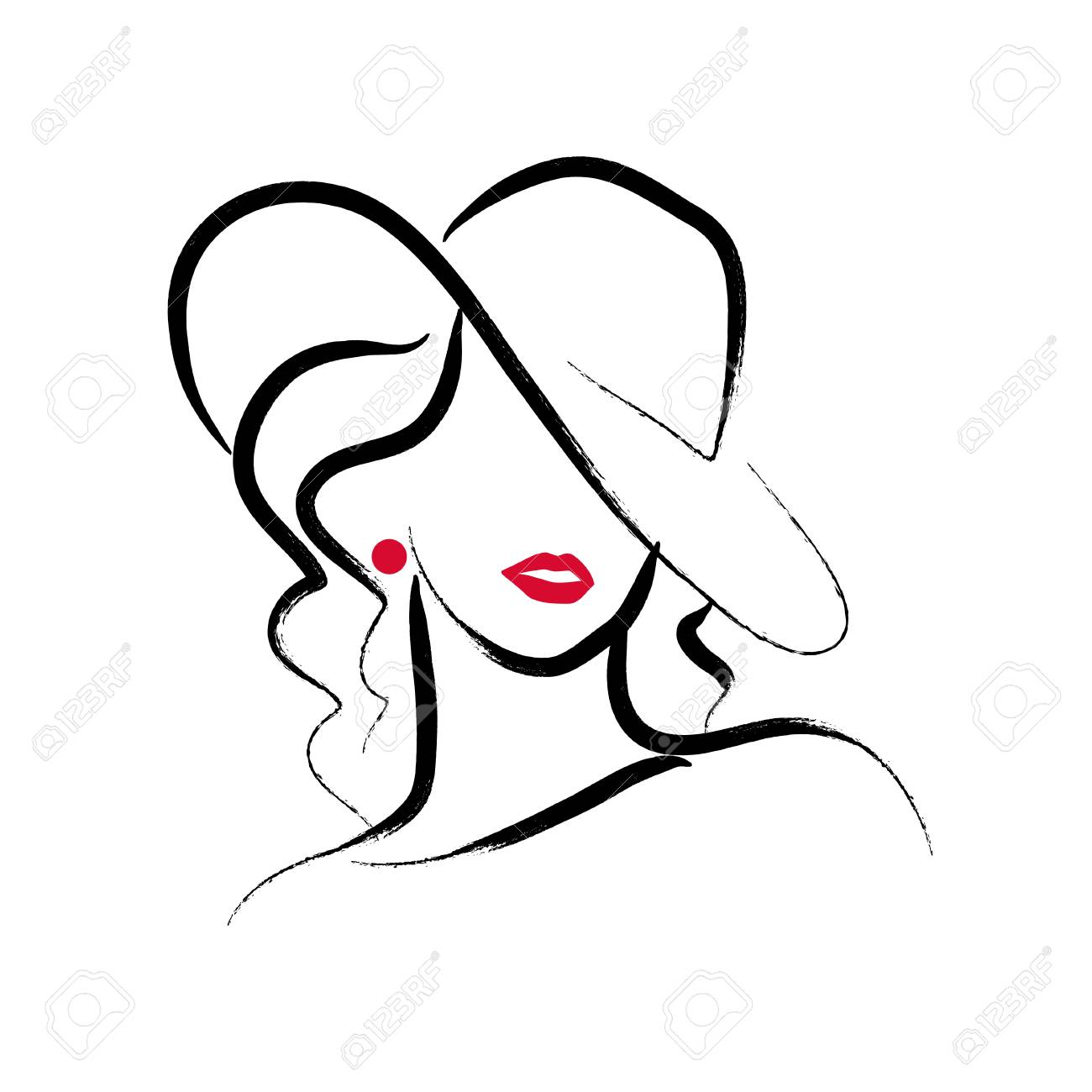 A Vector artistic hand drawn stylish young lady portrait isolated on white background. - 97781200