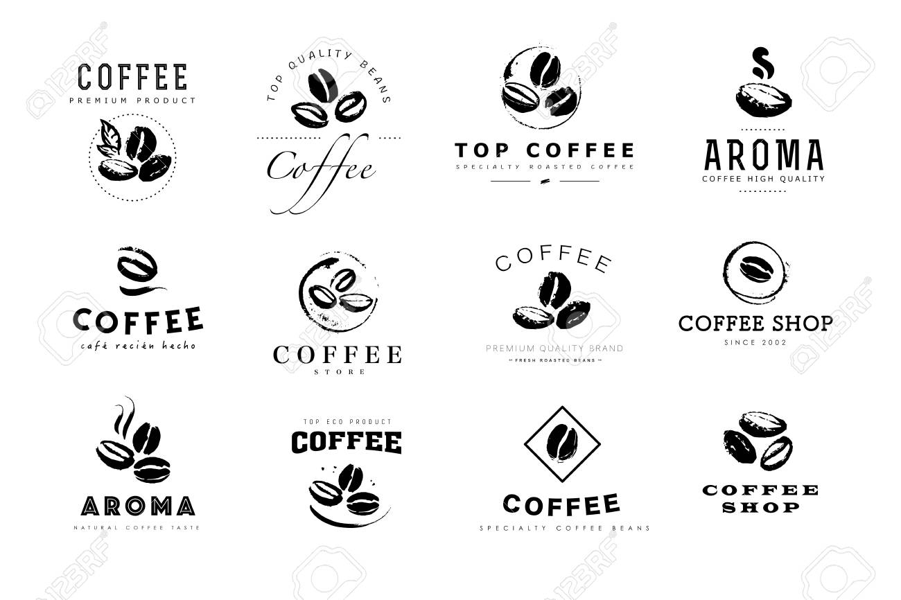 Vector collection of hand drawn coffee logo design elements isolated on textured background. Coffee shop craft emblem, company insignia template, banner, print, etc. - 98606206