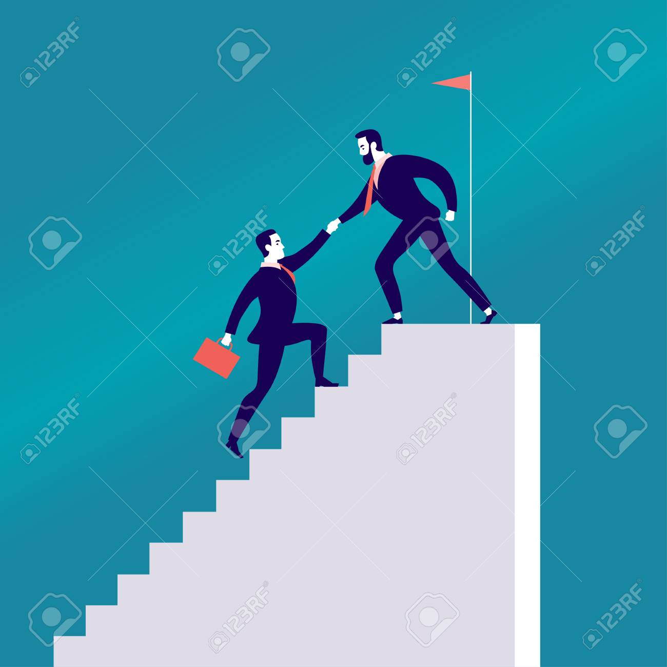 Vector flat illustration with business people climbing together on white stairs isolated on blue background. Team work, achievement, reaching aim, partnership, motivation, support - metaphor. - 100020891