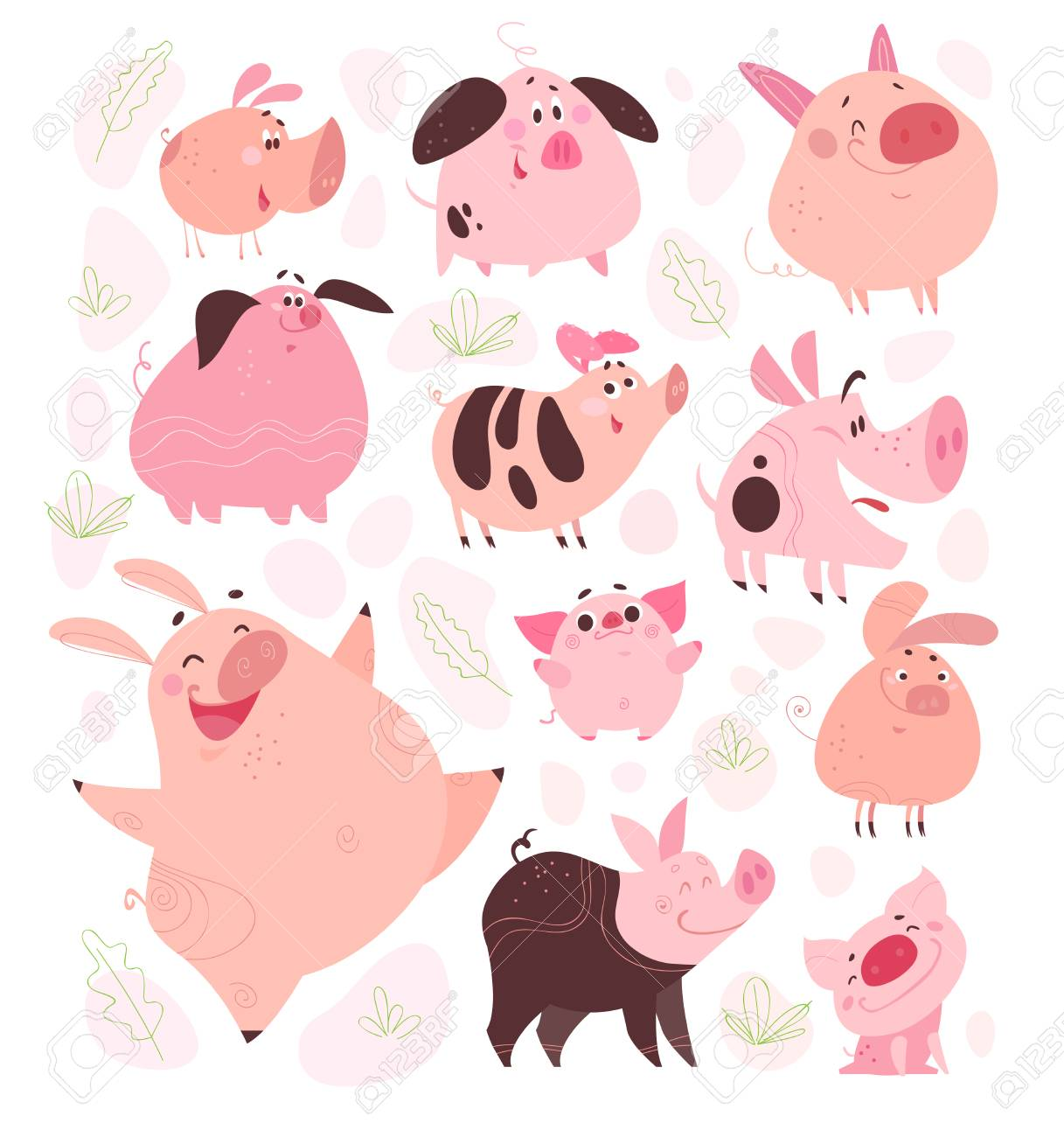 Vector vector set of funny flat different pig characters design isolated on white background collection of friendly smiling pink porks farm animals