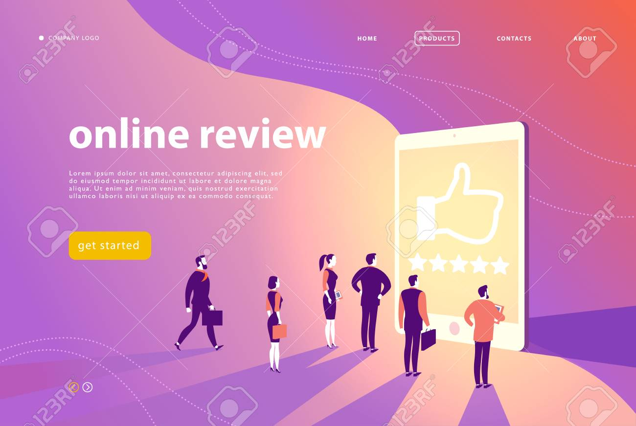 Vector web page concept design with online review theme - office people stand at big digital tablet watch shining screen with five stars. Landing page, mobile app, site template. - 107194276