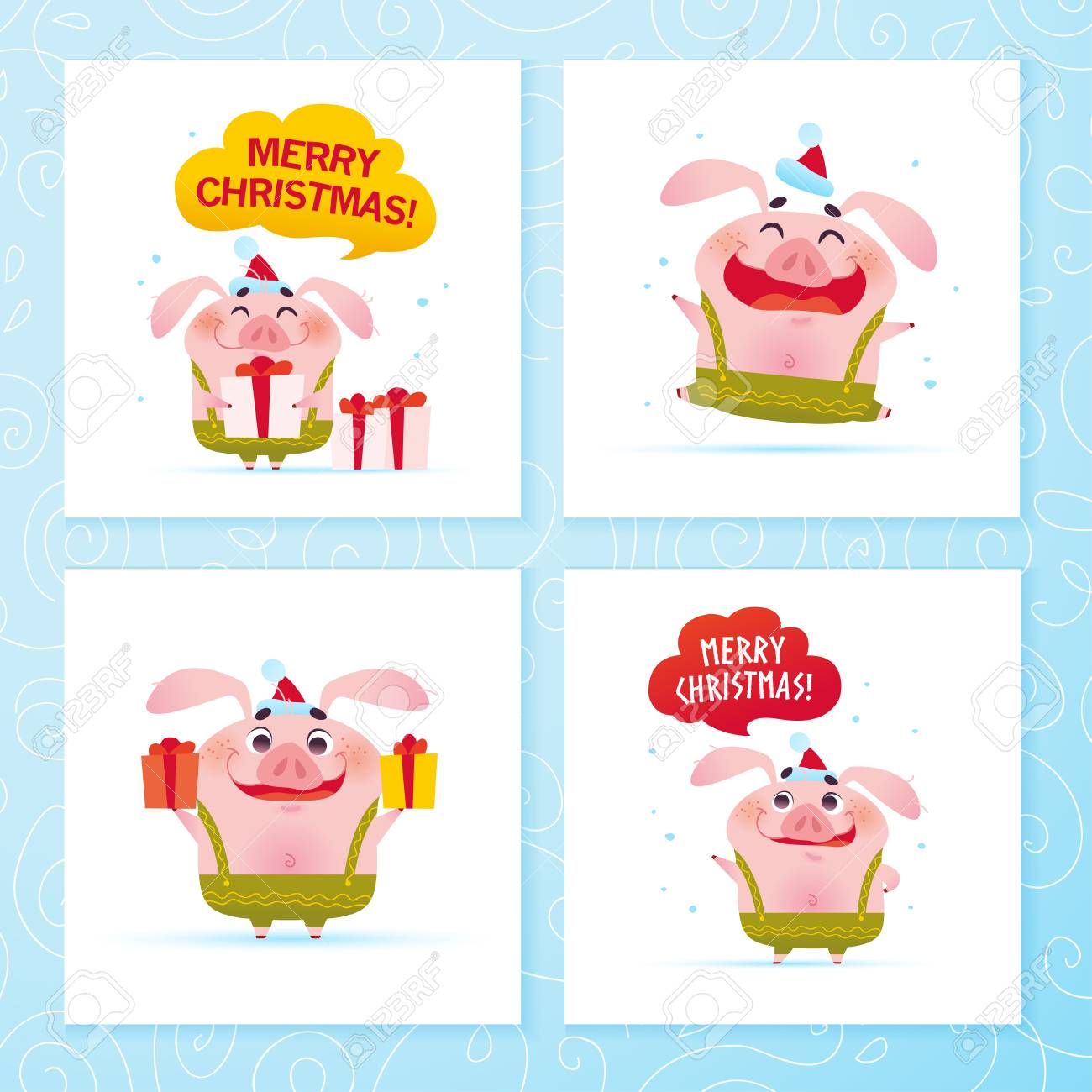 Vector Collection Of Happy New Year And Merry Christmas Cards With ...