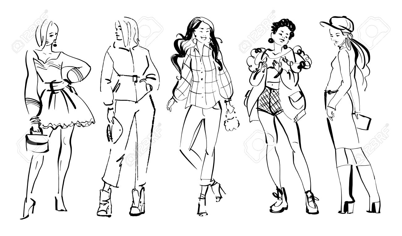 Vector fashion illustration of modern young girl models in spring autumn cloth collection isolated on white background. Hand drawn lady in sketch style. Perfect for banners, advertising, flayers etc. - 111537991