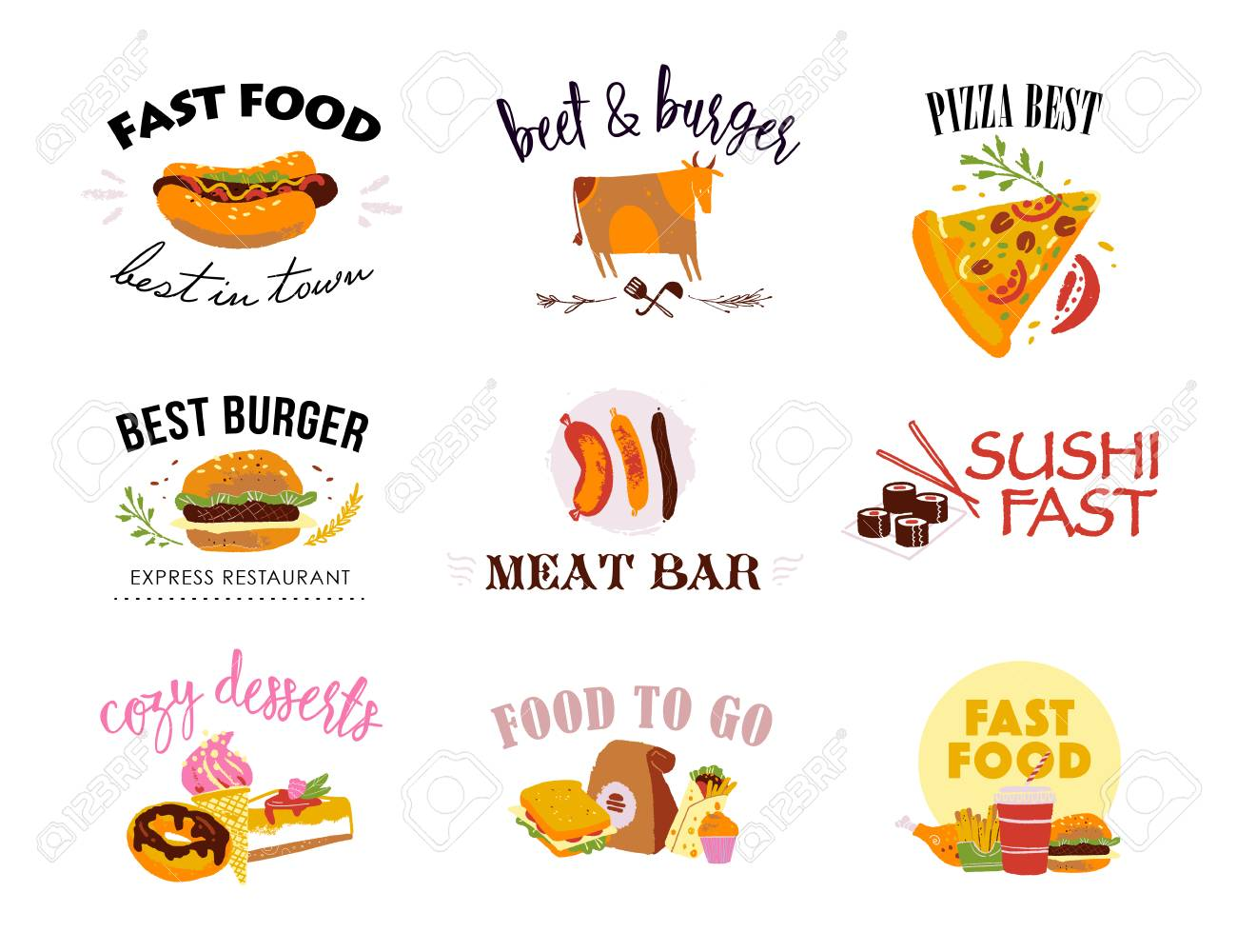 Vector collection of fast food logo templates isolated on white