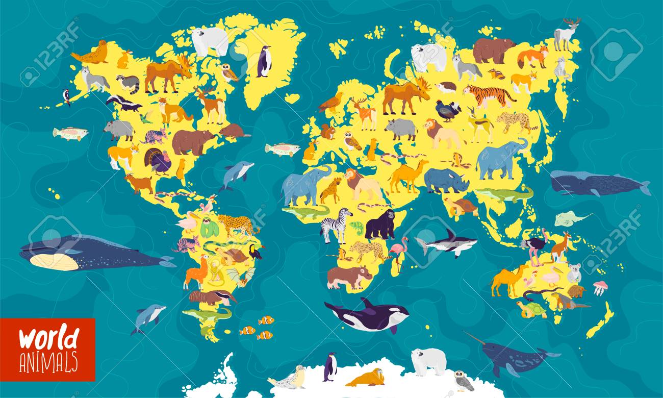 Picture of: Vector Flat Illustration Of World Map With Sea Oceans Continents Royalty Free Cliparts Vectors And Stock Illustration Image 122107854