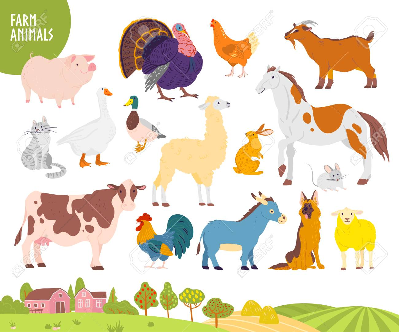 Vector set of farm animal: pig, chicken, cow, horse etc with cozy village landscape, house, garden, field. White background. Flat hand drawn style. For label, banner, logo, book, alphabet illustration - 124886655
