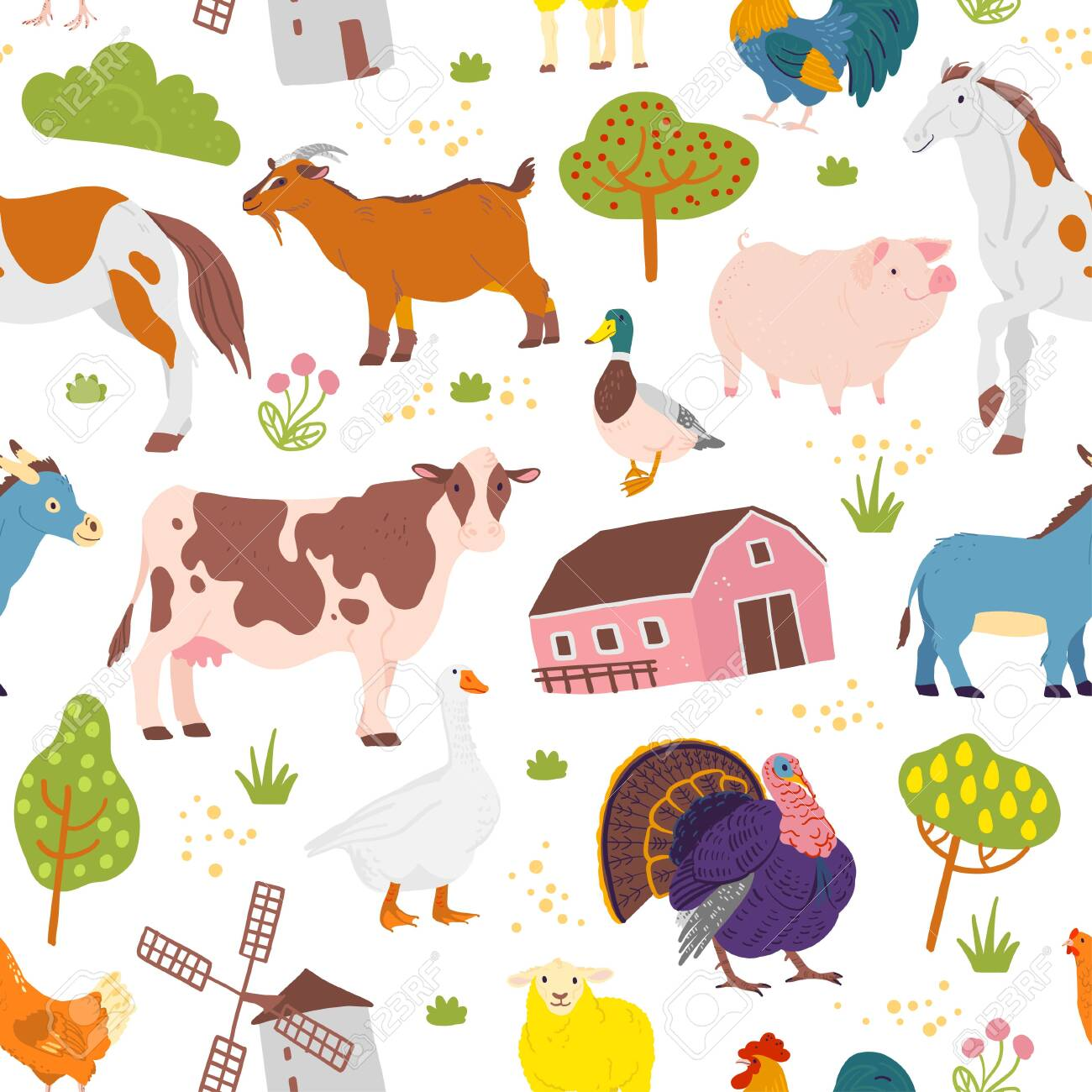 Vector flat seamless pattern with hand drawn farm domestic animals, trees, birds, house isolated on white background. Good for packaging paper, cards, wallpapers, gift tags, nursery decor etc. - 123965315