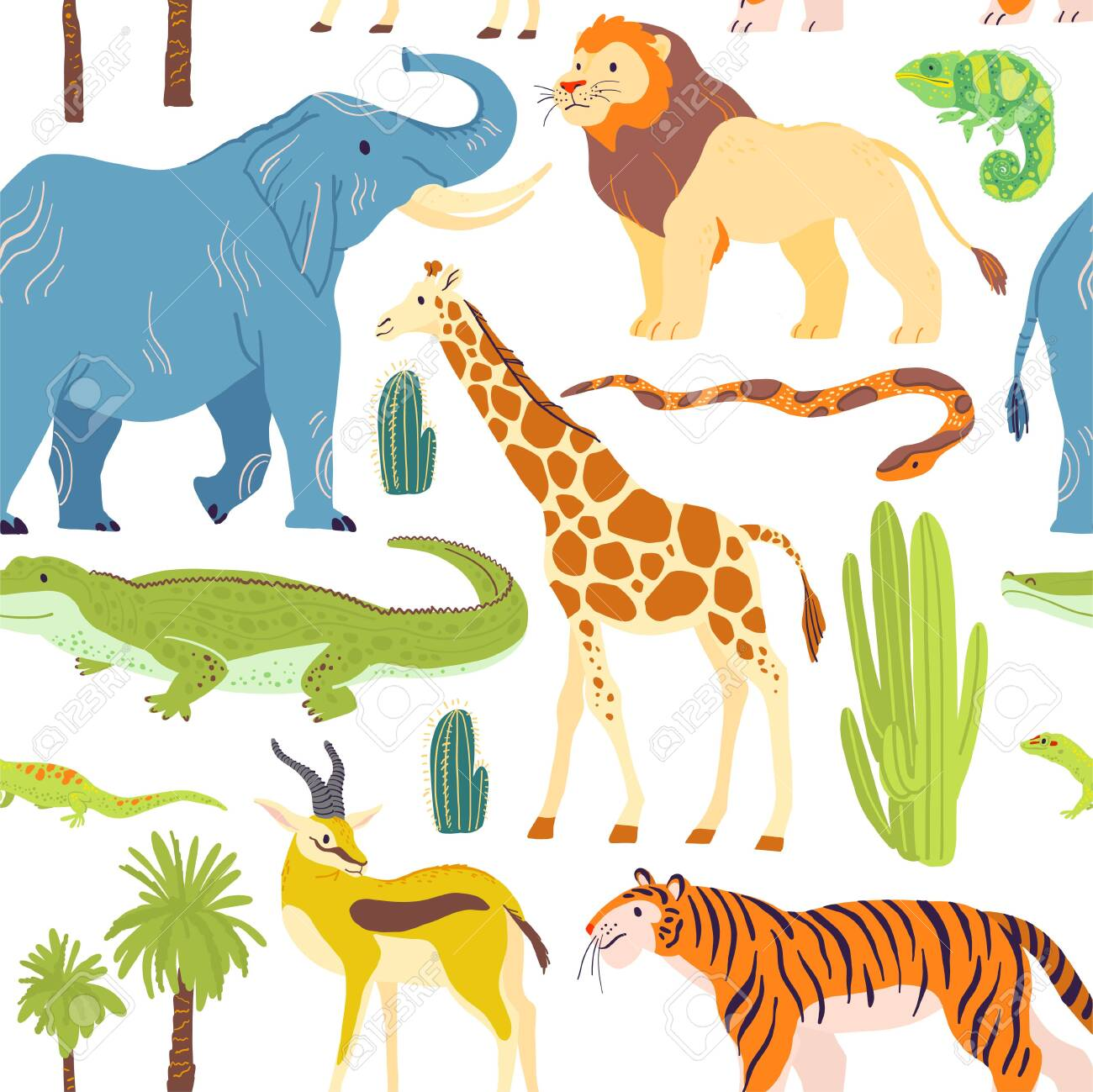 Vector flat seamless pattern with hand drawn desert animals, reptiles, palm trees, cactus isolated on white background. - 123851240