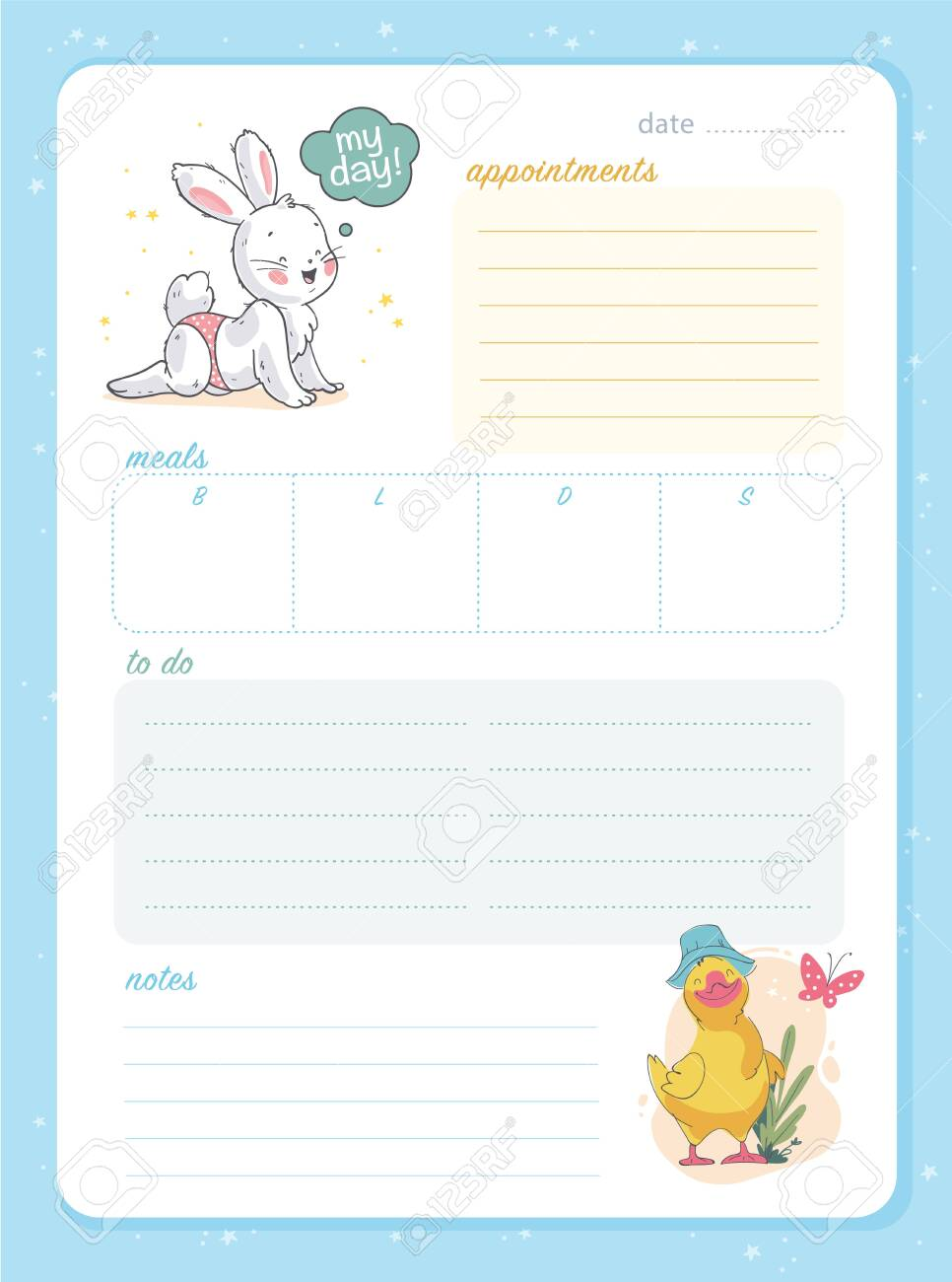 image about Daily Planner Page titled Vector day by day planner web page design and style template, calendar for small children