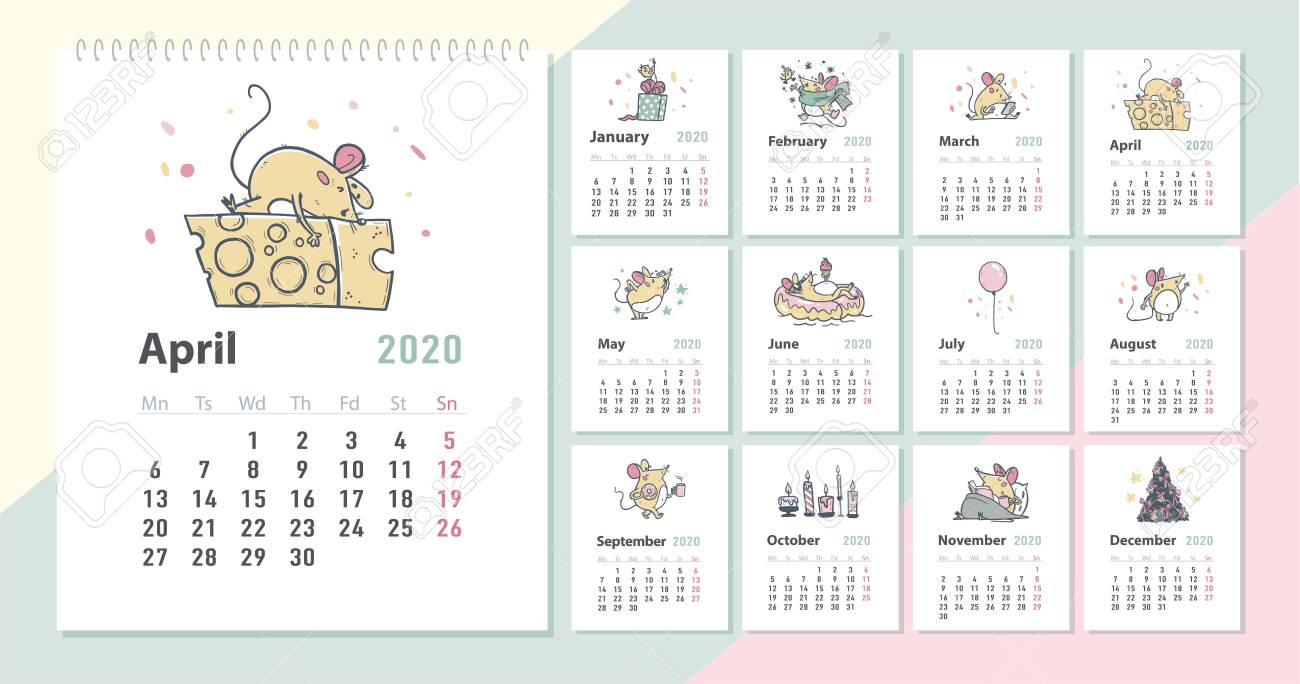Vector 2020 new year creative monthly calendar for kids with cute funny mice animals characters hand drawn illustrations design template. Pastel colours cards. Desktop, print. - 131300264