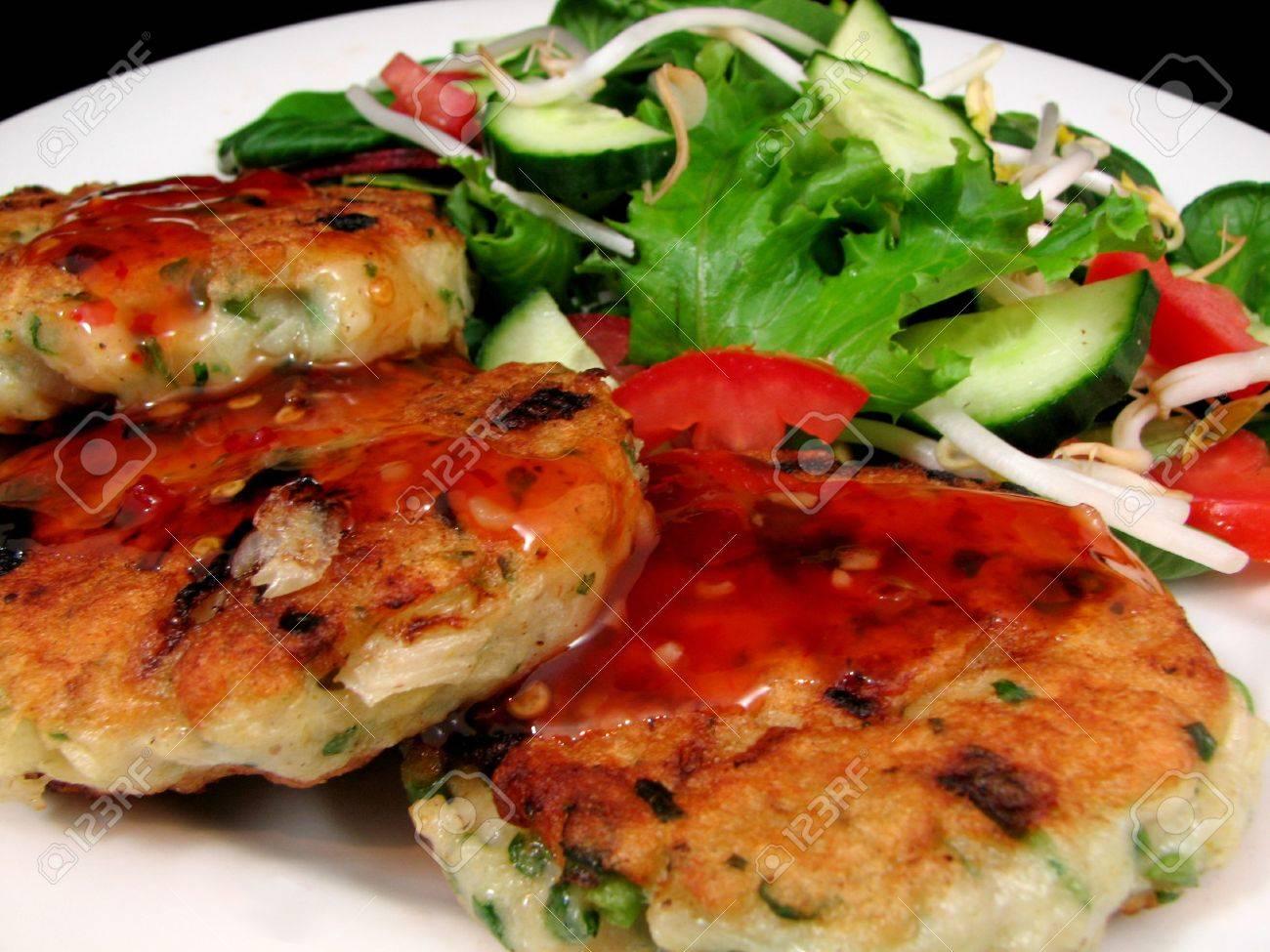 Thai Fish Cakes With Fresh Crispy Salad Stock Photo 5734209