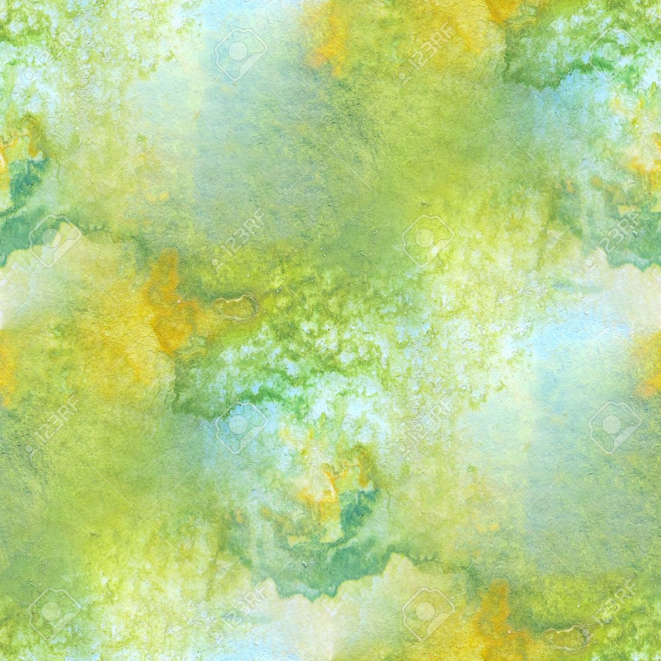 Green with Yellow Seamless Watercolor 1 Stock Photo - 13365640