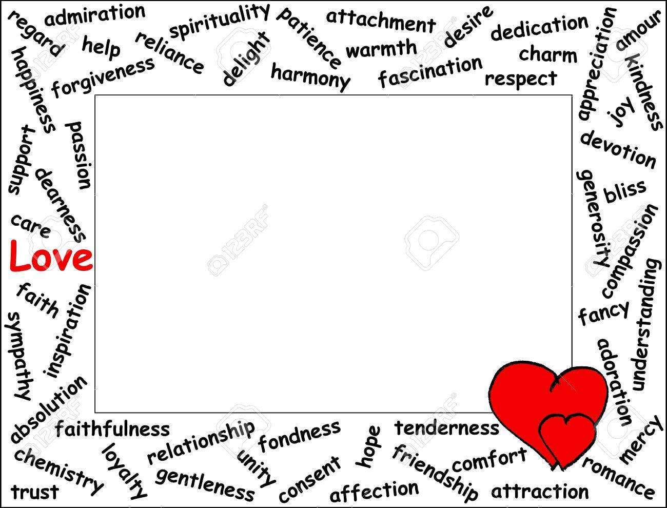 love word frame with 54 love related words two hearts horizontal