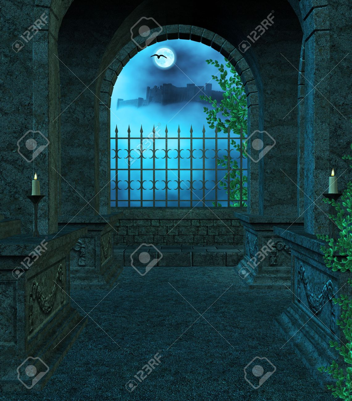 Window at night from inside - Inside The Mausoleum At Night With Candles Vines Fog Looking Out The Window Towards