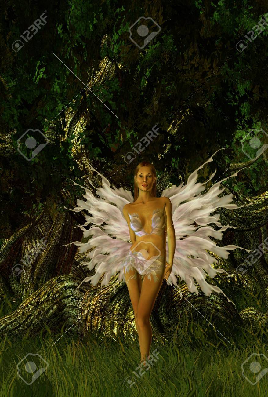 Glittering fairy standing in the forest Stock Photo - 5117513