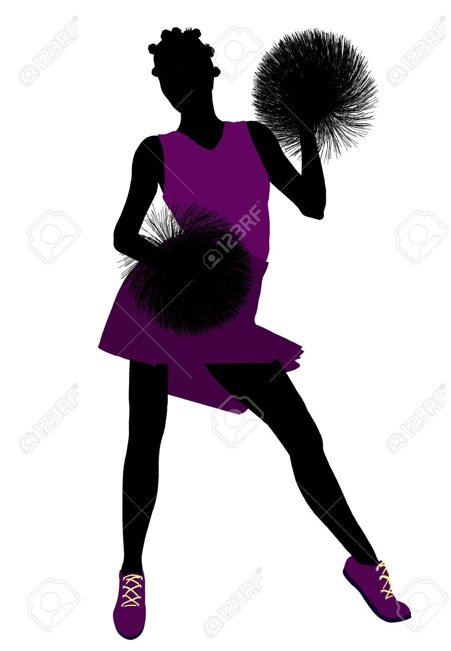 Female cheerleader silhouette on a white background Stock Photo - 6206666