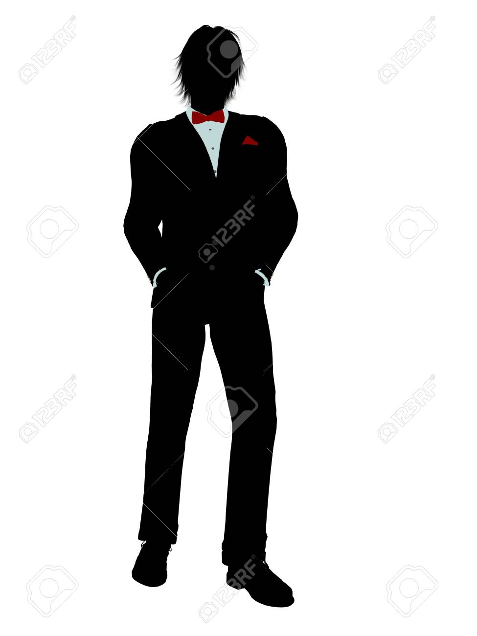 Man dressed in a tuxedo silhouette illustration on a white background Stock Illustration - 6277965