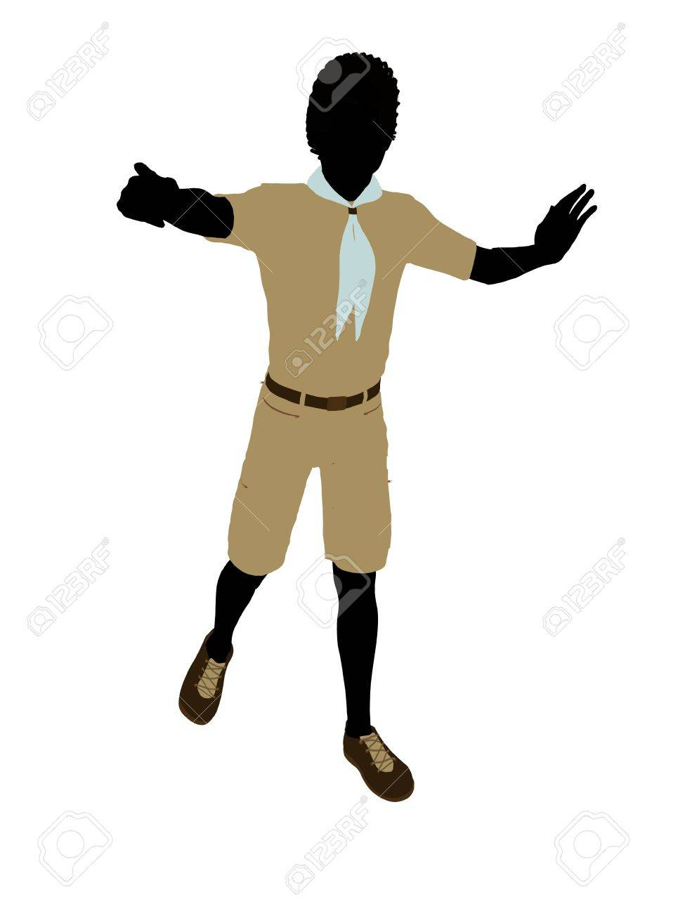African American Boy Scout silhouette dressed in shorts on a white background Stock Photo - 6324034
