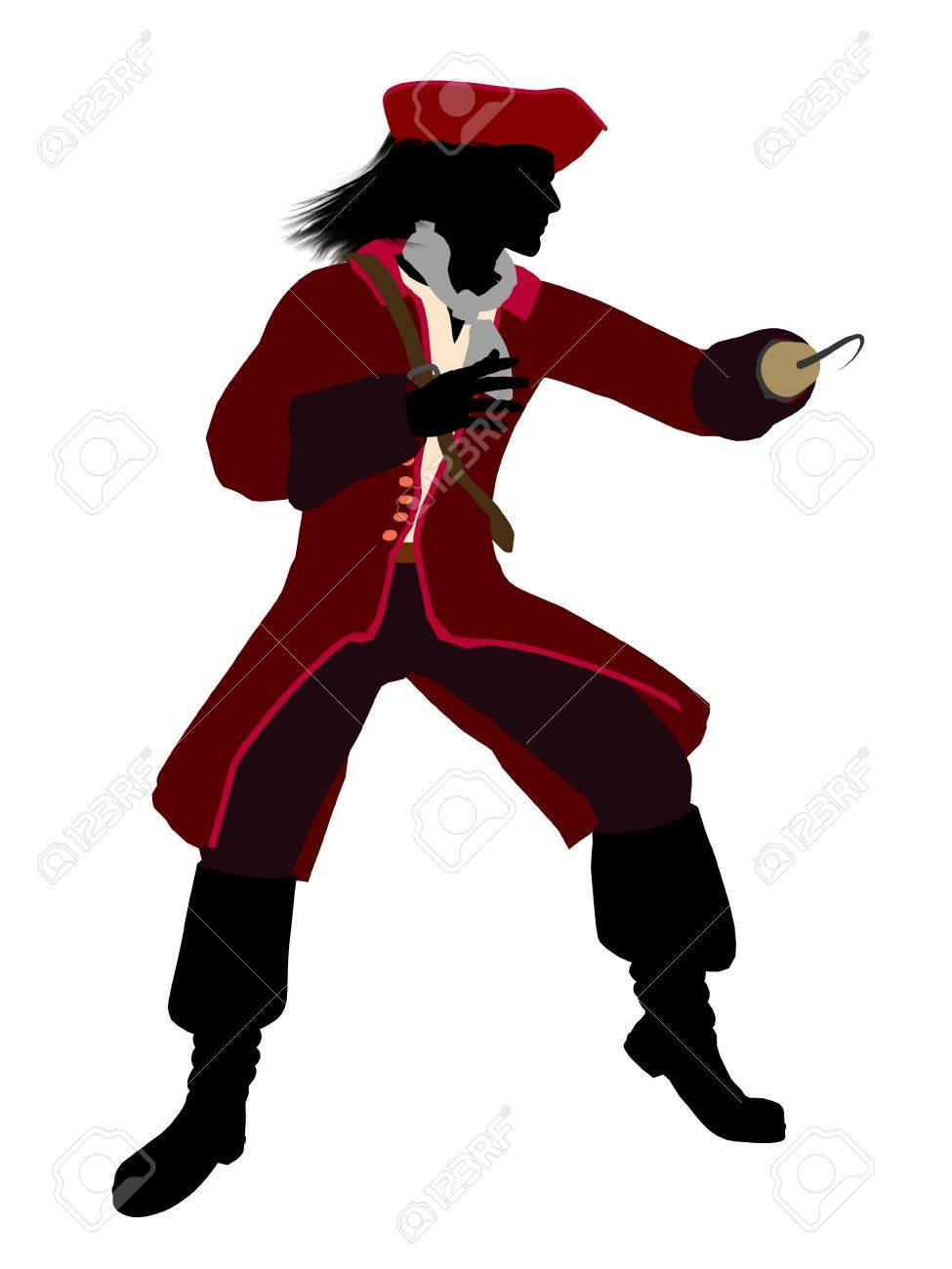 Captain hook illustration silhouette on a white background Stock Illustration - 6587139