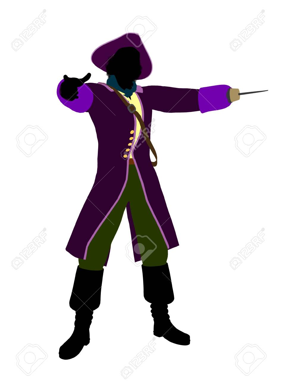 Captain hook illustration silhouette on a white background Stock Photo - 6585848