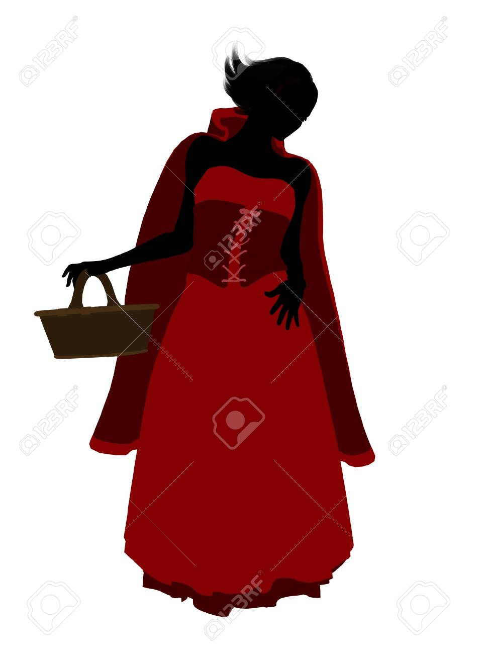 Little Red Riding Hood illustration silhouette on a white background Stock Illustration - 6586374