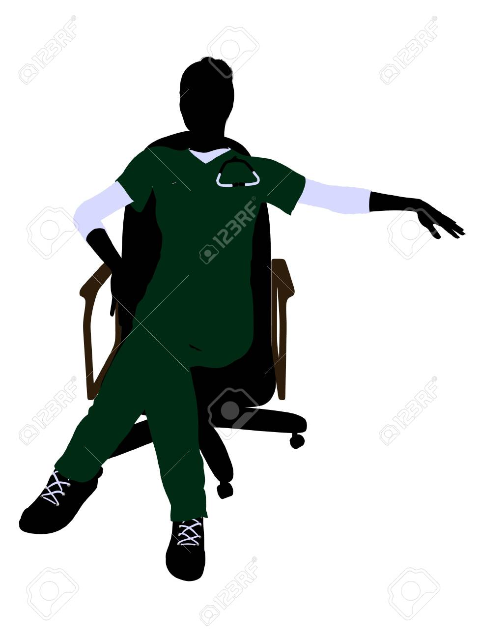 Female doctor sitting on a chair art illustration silhouette on a white background Stock Illustration - 7061156