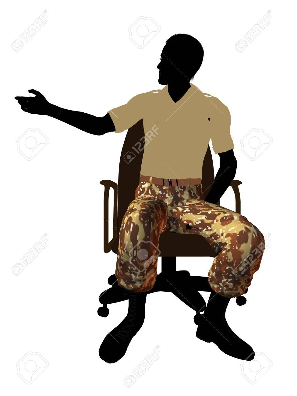 Silhouette Soldat Bureau Légère Une Un Fond Vêtu Assis Blanc Mâle Sur De Chaise PkuXZi