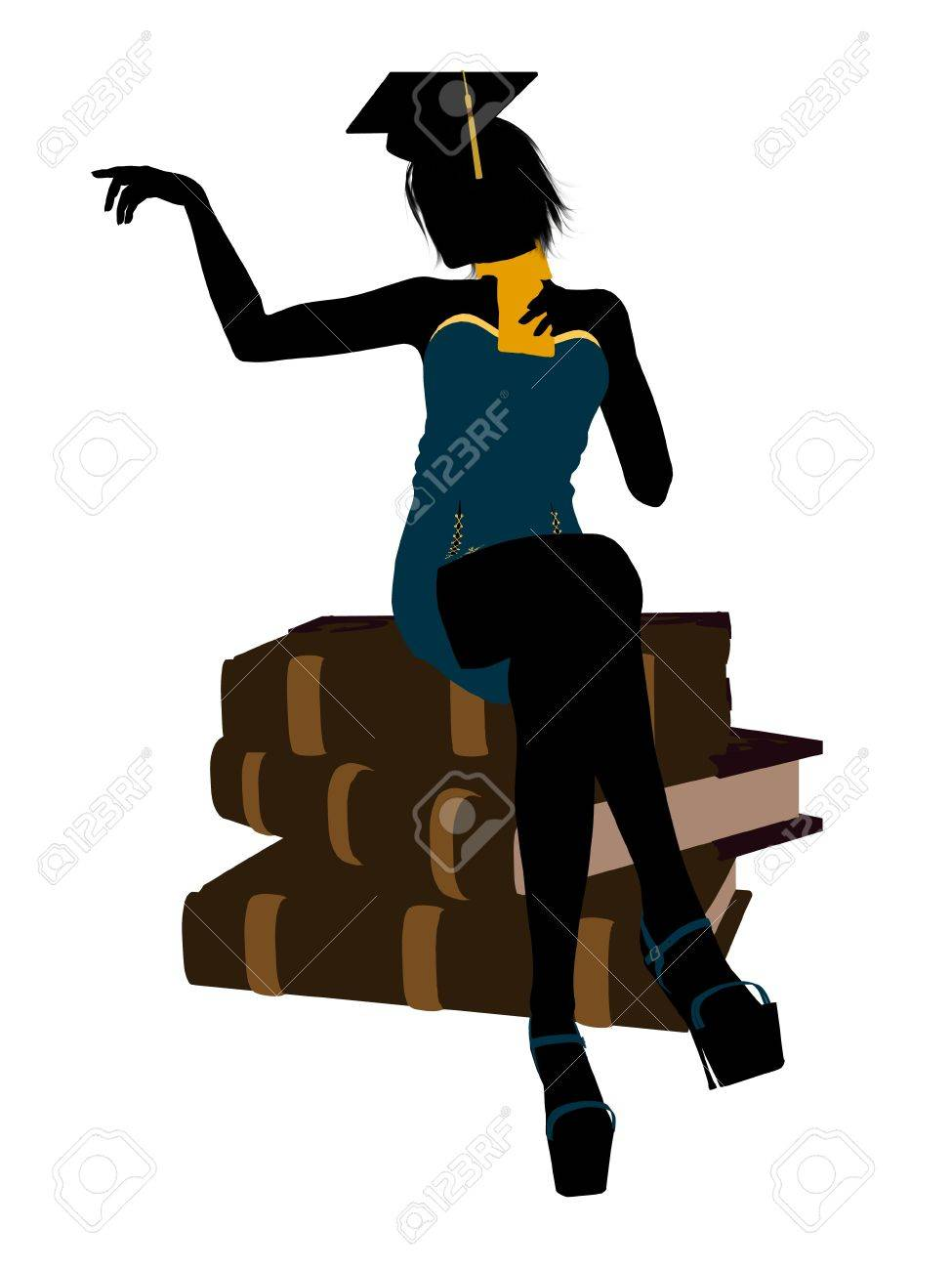 female graduate sitting on a pile of books silhouette on a white background stock photo