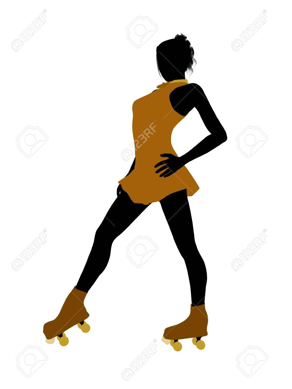 Female roller skater illustration silhouette on a white background Stock Photo - 7392796
