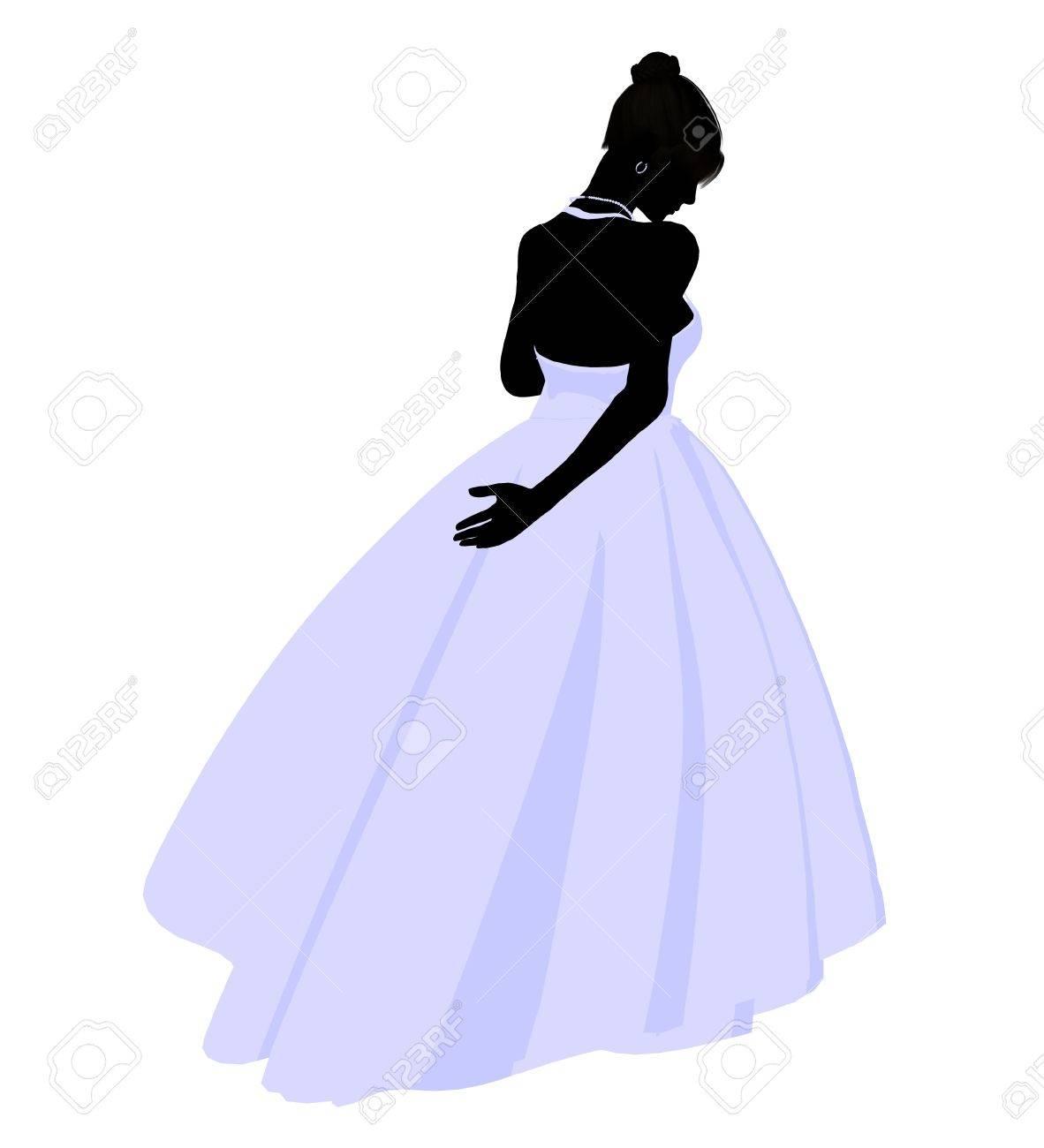 写真素材 , 結婚式の女性、白い背景にシルエット イラストをドレスします。