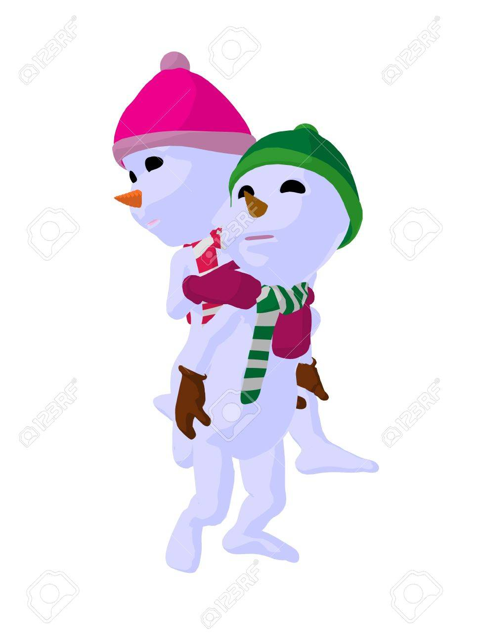 Clip Art Snowgirl Snowboy and snowgirl couple