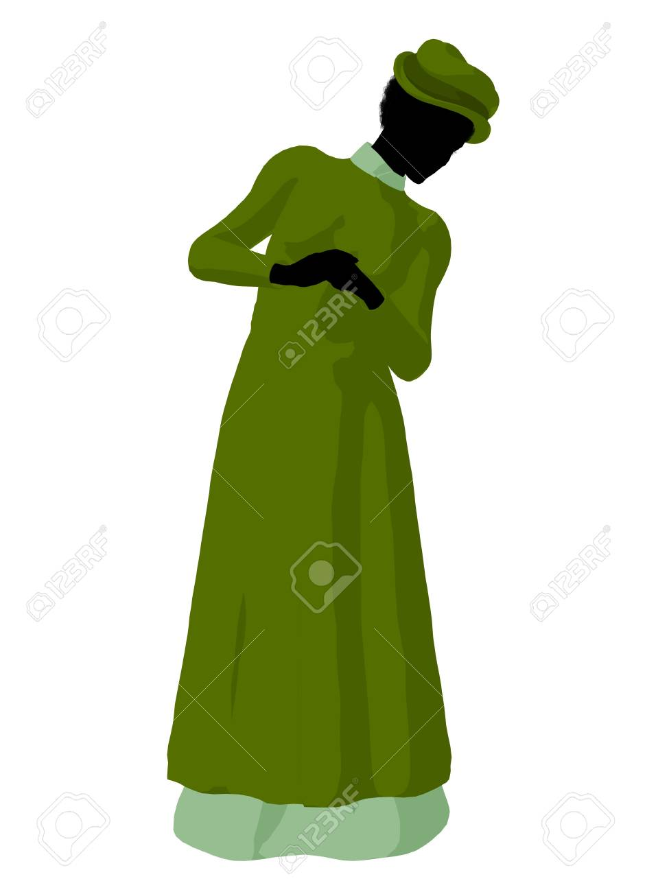 532ea0034d6 African american victorian woman art illustration silhouette on a white  background Stock Illustration - 7655208